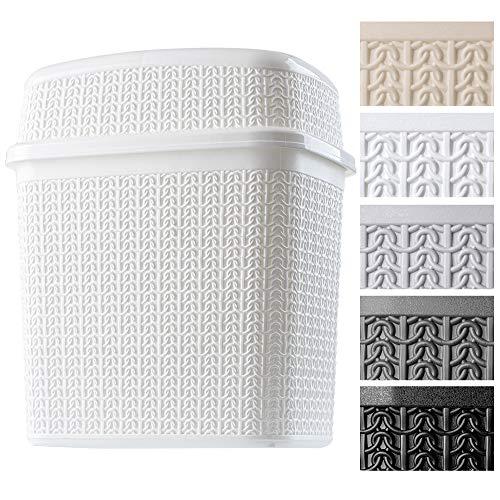Cubo de basura de plástico con tapa basculante, cubo de basura para baño, cocina, cubo de basura ligero con tapa basculante, cubo interior (10 L), color blanco
