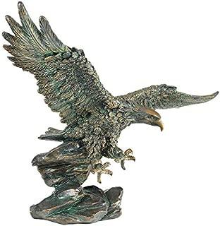 Design Toscano Victory's American Bald Eagle Patriotic Statue, 15 Inch, Polyresin, Bronze Verdigris Finish