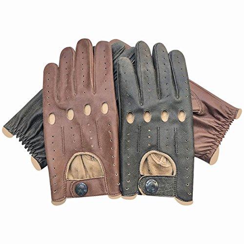 Prime Retro-Autofahrer-Handschuhe Italienisches Nappa-Rindsleder Ungefütterte Chauffeur-Handschuhe für alle Jahreszeiten 516, braun, L