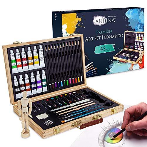 Artina Set da Disegno con manichino in Valigetta - Leonardo 45 unità: pennelli, acrilici, matite, manichino, ECC. - per pitturare & disegnare - Kit Pittura e Disegno - Set per colorare con manichino