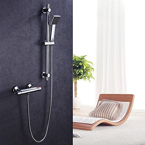 Hausbath Brausestangenset Chrom Duschsystem Set mit Thermostat Duscharmatur Duschset Handbrause Regendusche Dusche Armatur
