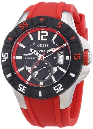 Guess Herren-Armbanduhr XL Magnum Analog Quarz Silikon W0034G1