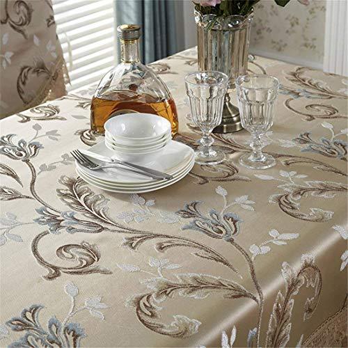 MJY Tischdecken, Blumen-Rechteck-Champagner-Tischdecke mit wasserlöslicher Spitze und wunderschöner Blumenstickerei für Ess- / Tee- / Fernsehtisch Kühlschrank/Schrank/Mikrowelle Ca.