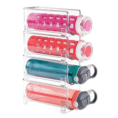 mDesign Flaschenregal – stapelbare Aufbewahrung für Weinflaschen bzw. Trinkflaschen – ideal für Küchenschränke und Arbeitsplatten – für 4 Flaschen, transparent