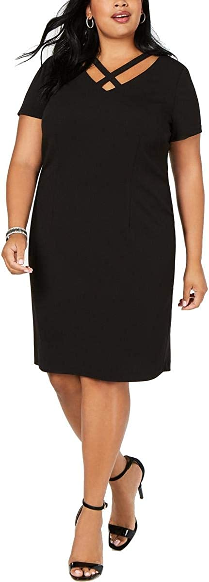 Connected Apparel Womens Plus Crepe Leopard Inset Wear to Work Dress