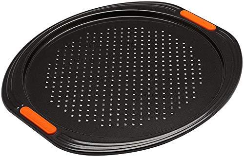 Le Creuset Bandeja antiadherente para pizza, diametro 33 cm, Base perforada, Libre de PFOA, Resistente a ácidos, Revestimiento de acero al carbono, Gris y Naranja