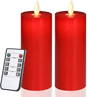 Only-us Red Flameless Candles Flickering LED Candles Battery Operated with Remote Control Timers for Home Party Wedding Christmas Decoration Dimmable Pillar Candles 5 inch Flat top 2pcs