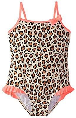 Osh Kosh Girls' Little Animal Print One Piece Swimsuit, Leopard, 6