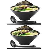 2 juegos (6 piezas) Japonés Conjuntos de cuencos de ramen Tazón de sopa de fideos ramen japoneses grandes de 42 Oz Vajilla de plástico duro de melamina, con palillos y cucharas para fideos, Udon, Soba