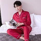 STJDM Camisón,Bordado Bata Bata Pijamas Traje Conjunto de Pijamas Amantes Ropa de Dormir Ropa de Dormir Satén Casual XXL menwinered