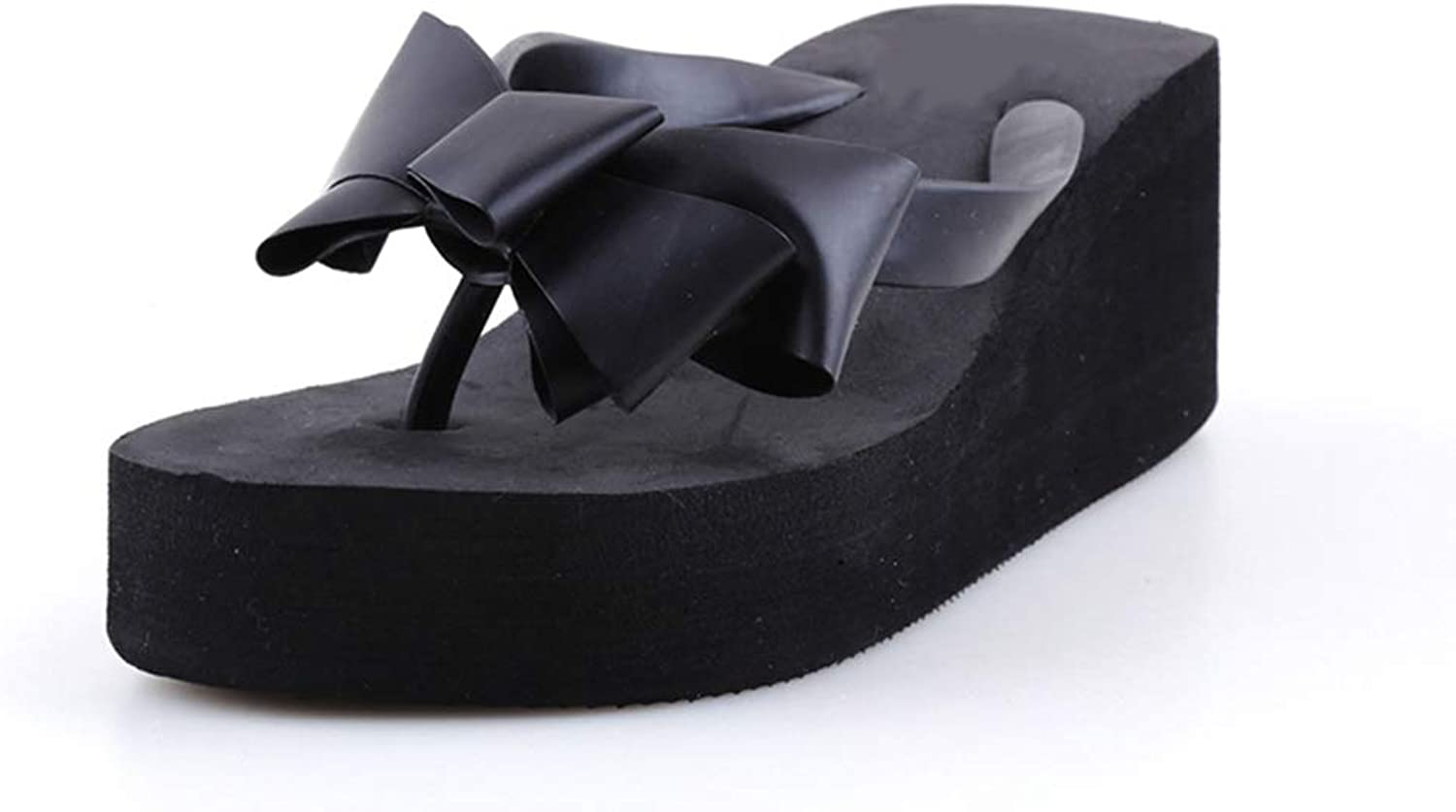 T-JULY Summer Fashion Women's Sandals Beach Slippers Bow Wedge Mid Heel Ladies Breathable shoes