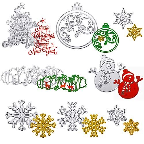 Juego de 8 Troqueles de Navidad Plantillas de Metal de Navidad 3D Troqueles de Muñeco de Nieve Copo de Nieve...