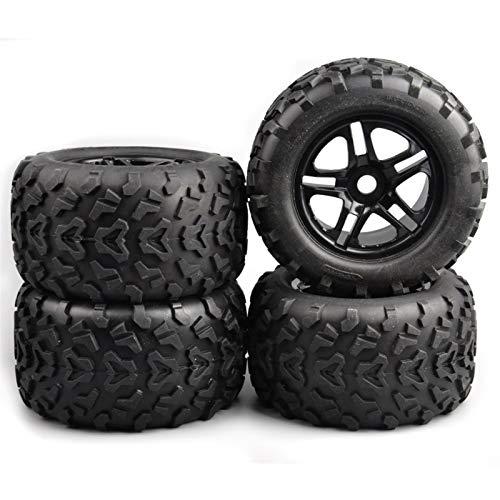 YanHui-LZC Conveniente neumático de Coche RC, 4 PC / 1: 8 Escala de Camiones Caucho de neumáticos y Llantas con 17 mm Hex encajan HSP HPI RC Car Accesorios Modelo para Modelo de Coche (Color : Black)
