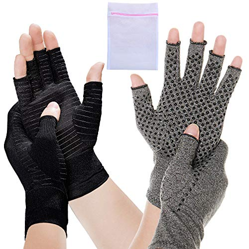 2 Pair Compression Arthritis Gloves Fingerless Hand Wrist Support Joint Pain Relief for Men Women 1x Copper 1x Dotted Large Mesh Bag