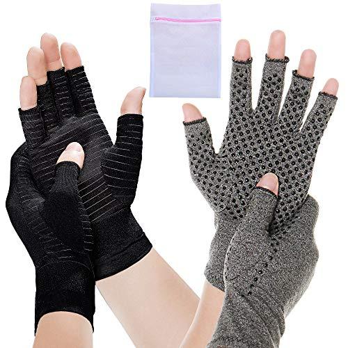 2 Pair Compression Arthritis Gloves Fingerless Hand Wrist Support Joint...