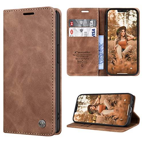 RuiPower Funda para iPhone 12 Mini con Tapa Funda para iPhone 12 Mini Libro Fundas de Cuero PU Premium Magnético Tarjetero y Suporte Silicona Carcasa para iPhone 12 Mini (5.4'') - Marrón