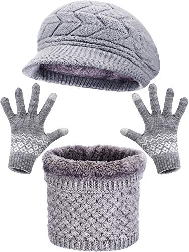 Sombrero de Boina de Punto de Invierno Bufanda de Aro Caliente Calentador de Cuello Guantes para Pantalla Táctil Adecuados para Favores de Mujeres (Sombrero, Guantes y Bufanda (Gris))