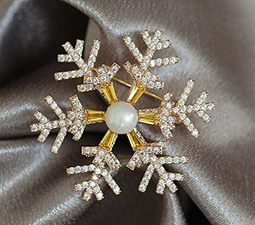 Broche de copo de nieve con perlas es adecuado para trajes vestidos de noche de invierno regalos de alta calidad