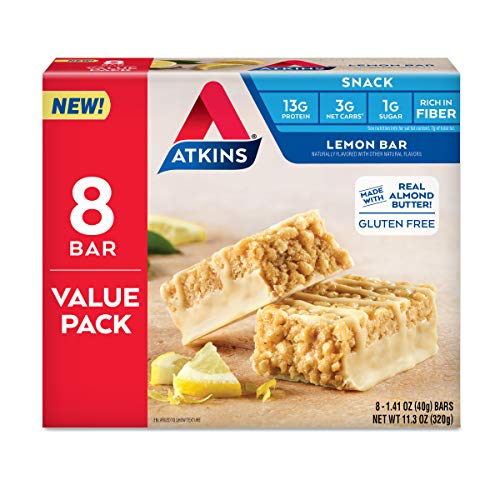 Atkins Atkins Gluten Free Snack bar, Lemon bar, Keto Friendly, 8 Count (Value Pack)