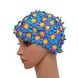 Medifier Gorro de natación con diseño de pétalos florales para mujer, color azul
