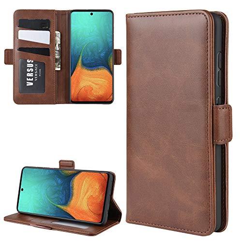 Henxunton PU leder Flip Hoesje Portemonnee Cover Magnetisch Sluiting Dubbele Beschermhoes Skin voor Samsung Galaxy A71 5G Telefoon (Bruin)