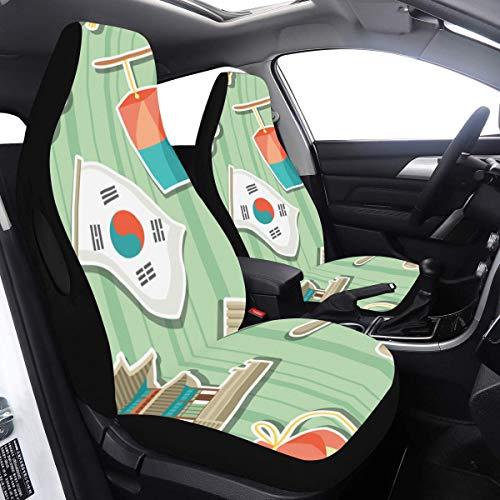 Enhusk 2 Stück Set Autositzbezüge Kleine Mode Kimchi Koreanischer Chinakohl Reise Autositzbezug Kompatibel für Airbags Universal Fit für Autos LKWs und SUVs Doppelsitzbezug