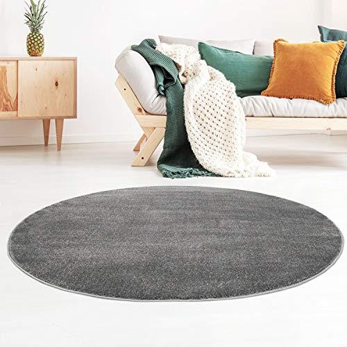 Taracarpet Kurzflor-Designer Uni Teppich extra weich fürs Wohnzimmer, Schlafzimmer, Esszimmer oder Kinderzimmer Gala dunkel-grau 120x120 cm rund