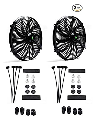 (Pack of 2) Engine Radiator Cooling Fan 16 Inch Curved Blade Ultra Thin Universal High Performance 12V 120W Motor?Radiator Fan With Fan Mounting Kit?Puller and Pusher Design?