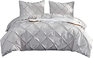 Kokolife Pintuck Duvet Cover Set 3PC Luxury Silky Satin Ivory Bed Cover Queen/King Size Solid Tuffed Pinch Pleat Bedding Set(Ivory, King)