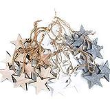 Weihnachts-ANHÄNGER SET: 30 Holz-Sterne Weihnachtssterne shabby vintage in grau weiß + natur braun ca. 7 cm je 10 Stück Baumschmuck Christbaumschmuck - Weihnachtsdeko zum Aufhängen