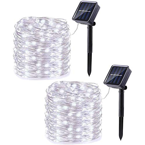 Tory PENG2 Pack Solar String Lights, 33ft 100LED 8 Modes Outdoor String Lights, Waterproof Decorative String Lights for Patio, Garden, Gate, Yard, Party, Wedding, Christmas (White)