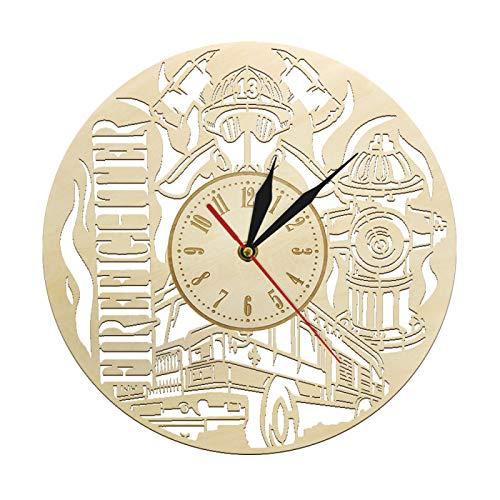 yage Bombero voluntario Reloj de Pared Reloj de Pared de Madera Departamento de Bomberos Decoración de Pared Reloj Emblema de Fuego Regalo para Bomberos Jefe de Bomberos