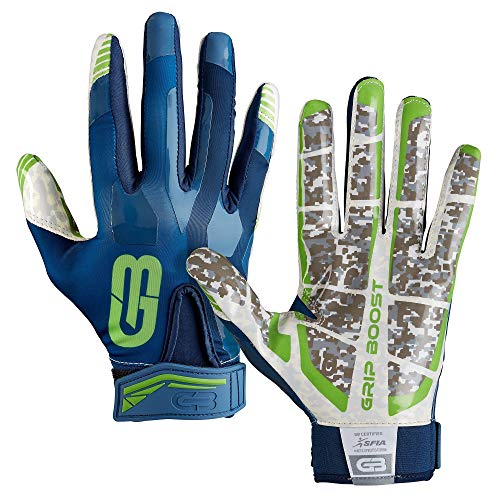 GRIP BOOST Stealth Pro Elite American Football Receiver Handschuhe - Navy/grün Gr. L
