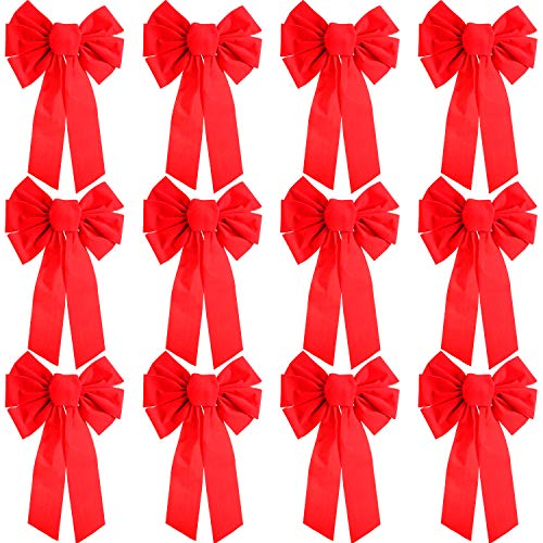 12 Piezas Lazo Terciopelo Rojo Navidad Lazo Grande