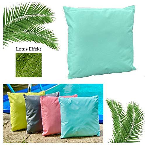heimtexland ® Outdoorkissen Dekokissen Lotus Effekt Schmutz- und Wasserabweisend Garten Outdoor Kissen Tropical 45x45 Mint Typ687