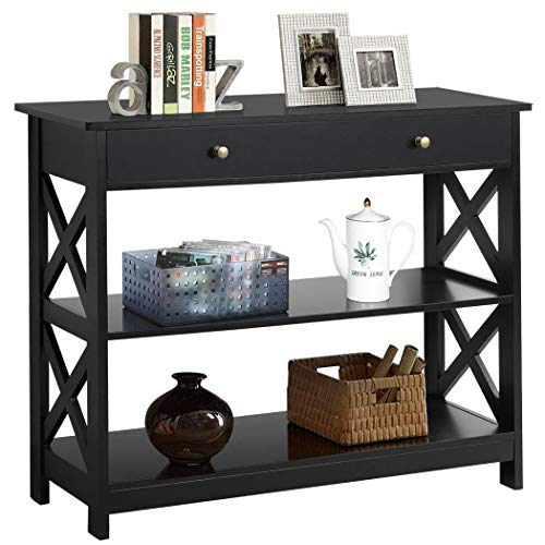 YAHEETECH Console Sofa Table Classic X Design with Drawer and 3 Tier Storage Shelves - Entryway Hall...