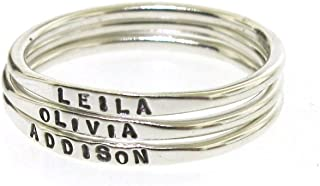 Tiny Stacking Rings, personalized band with your custom word or name