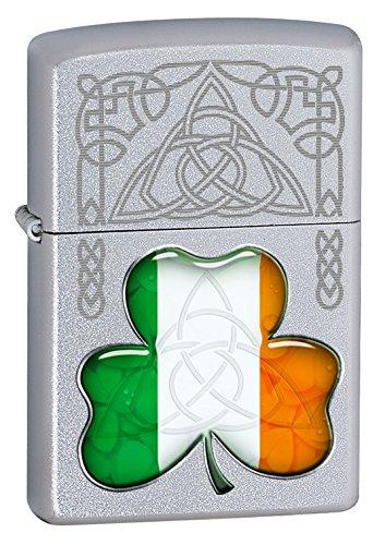 Zippo Windproof Irish Flag Shamrock Lighter - Silver