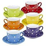 Klikel Tea Cups And Saucers Set - 6 Piece White Coffee Mug Set - 6 Inch Plates And 8.5oz Mugs - Cappuccino Cup And Saucer Set For Latte Café Mocha Espresso Bar