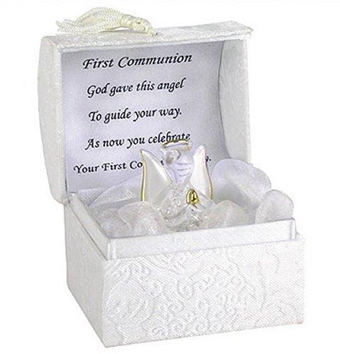 Angelo custode in vetro soffiato a mano dorato, regalo per la Prima Comunione