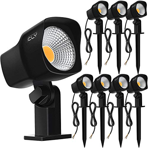 CLY 7W LED Landscape Spotlights Low Voltage Garden Pathway Lights IP66 Waterproof Warm White for Outdoor Lights,Swimming Pool,Patio,Driveway, Yard, Lawn(8 Pack) (Black)