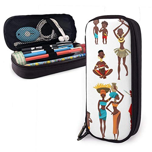 Estuche para lpices de cuero PU para disfraz africano, organizadores de papelera para estudiantes duraderos con cremallera doble para oficina escolar 1.5inx3.5x8 in