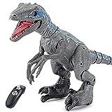 WDSWBEH Dinosaurios Juguetes Dinosaurio Robot Teledirigido Velociraptor, Dinosaurio Interactivo Robot Juguetes para Niños, Dinosaurio Teledirigido RC Muy Realista! Movimiento, Luz, Sonido Y Humo