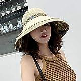 ZHANGNUO Sombrero De Sol De Verano para Mujer Versión del Gran Sombrero De Pescador Cubierto De Aleros éTnico Salvaje Sombrero De Tela De Protección Solar De Doble Cara Plegable Al Viento M/Negro