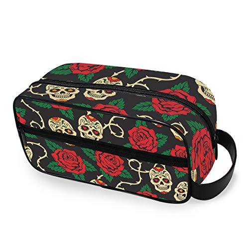 CPYang Kulturtasche für Reisen, mit Totenkopf-Motiv, tragbar, Make-up-Tasche, Dopp Kit Rasiertasche für Männer und Frauen