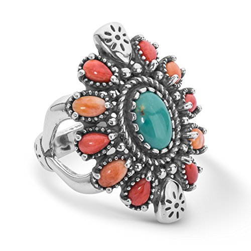 American West Sterling Silver Green Turquoise, Red and Orange Spiny Oyster Gemstone Cluster Ring Size 7