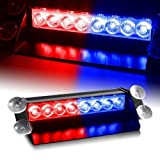 CARIZO Waterproof 8 LED Red Blue Police Flashing Light for Universal All Cars