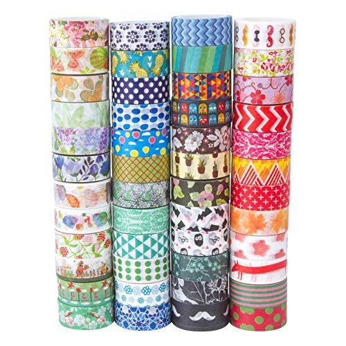 MOOKER Washi Tape Set of 48 RollsDecorative Washi Masking Tape Set for DIY Crafts and Gift Wrapping