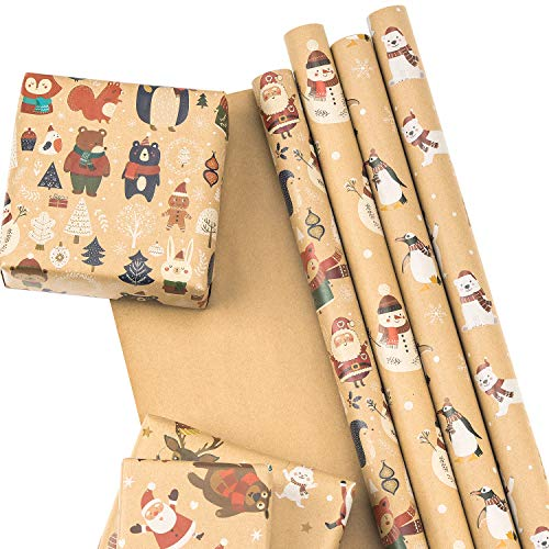 RUSPEPA Christmas Kraft Wrapping Paper Santa Claus Xmas Theme Elements Great for Christmas, Birthdays, Holiday, Baby Shower - 6 Sheets Packed as 1 roll - 17.5 x 30 inches per Sheet