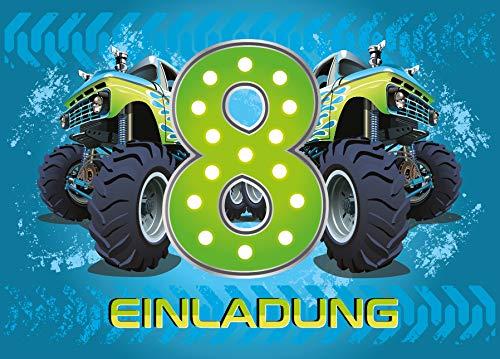 12 Einladungskarten 8. Geburtstag Kinder Junge Monstertruck blau / Monster-Truck / Auto / Einladungen achte Kindergeburtstag für Jungen
